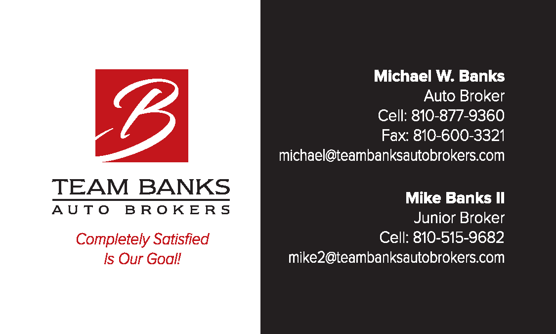 Team Banks Auto Broker Business Card Front