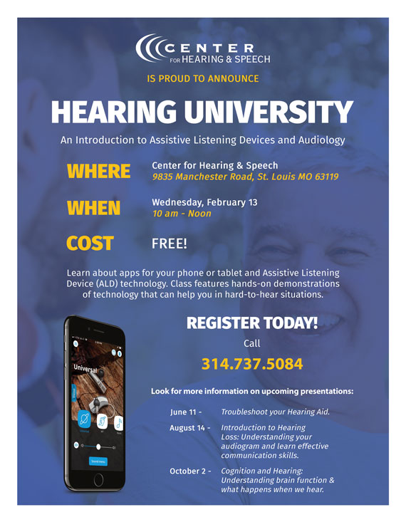 Poster with details about Hearing University from the Center for Hearing & Speech
