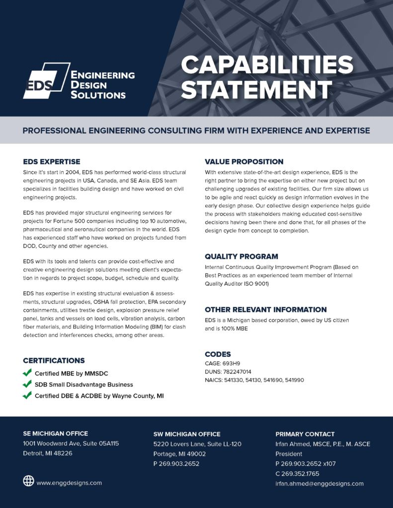 Capability Statement Engineering Design Solutions