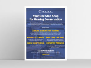 Flyer mockup for the Center for Hearing and Speech