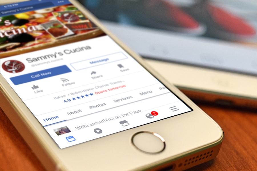 Sammy's Cucina Facebook page showing on smartphone
