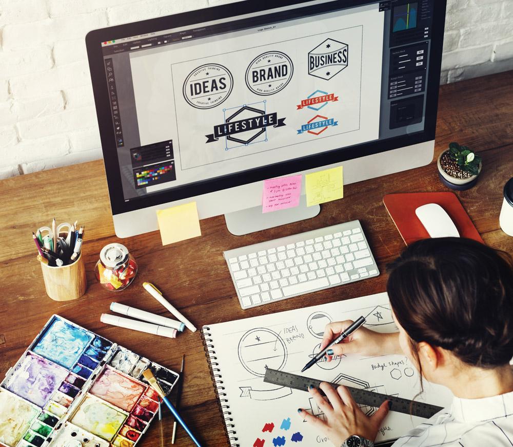 Designer designing a logo