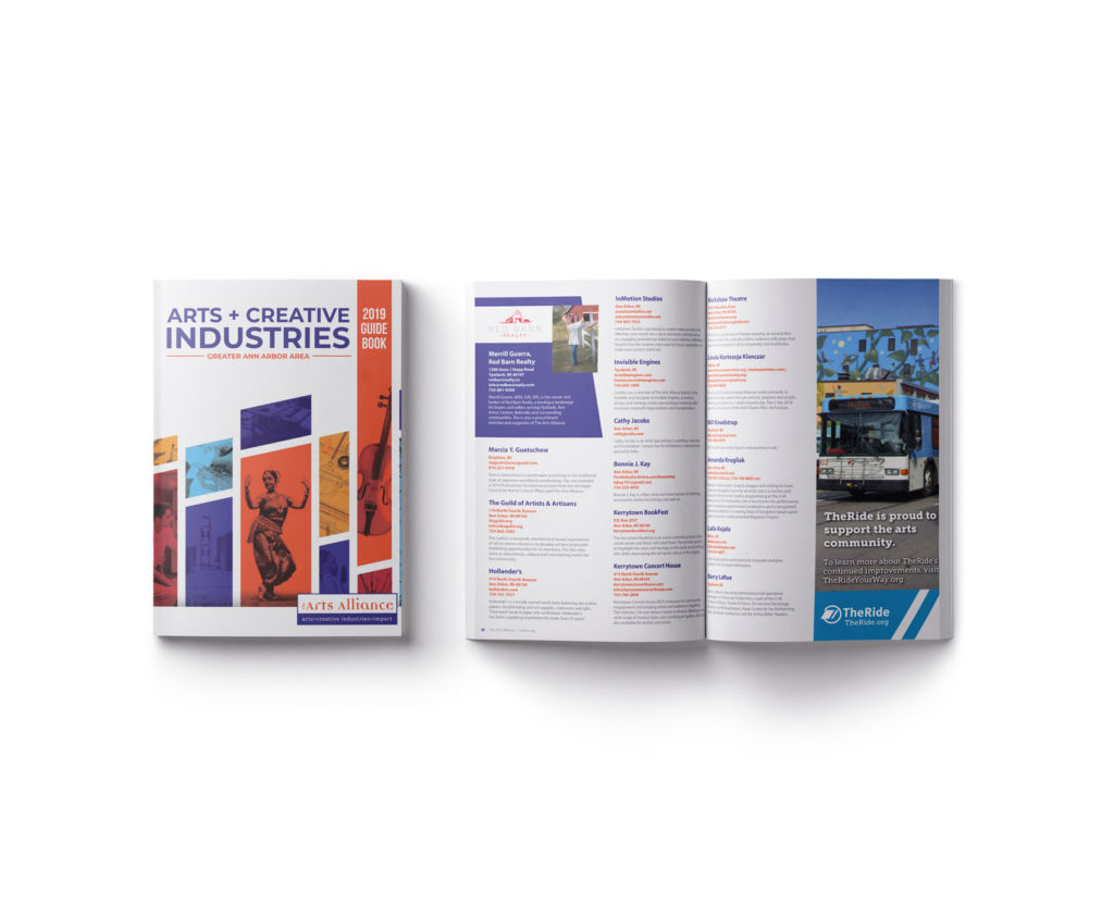 Arts Creative Industries, Front cover and inside page mockup